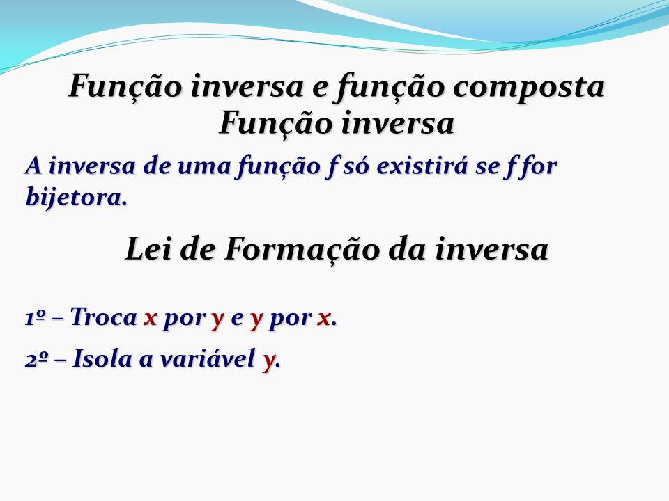 Função inversa e função composta Função inversa A inversa de uma função f só existirá se f for bijetora.