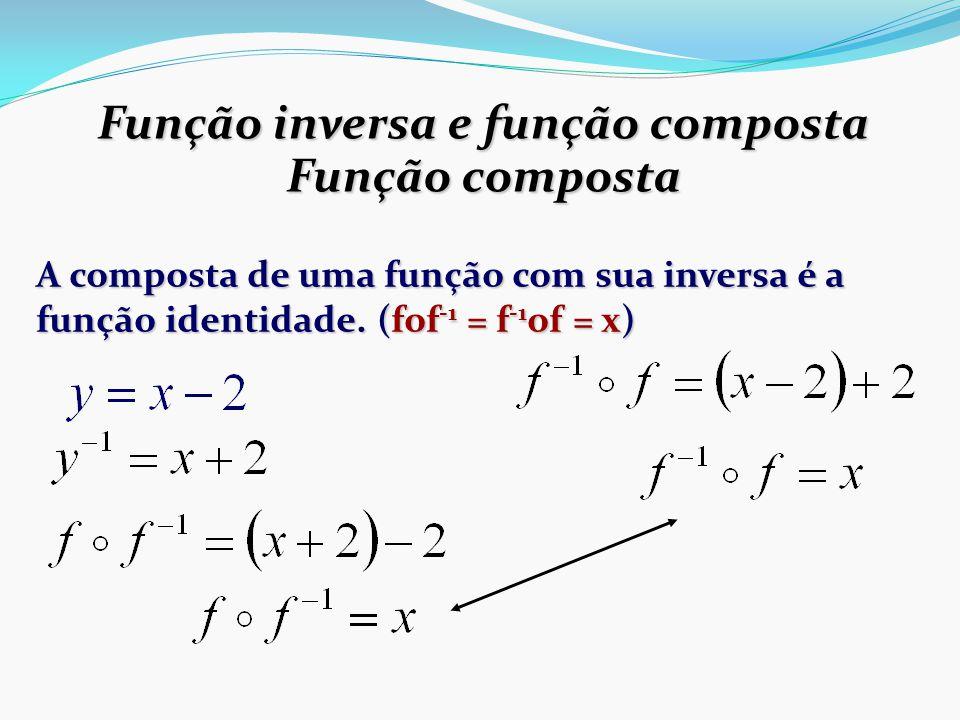 Função inversa e função composta Função composta A composta de uma função com sua inversa é a função identidade.