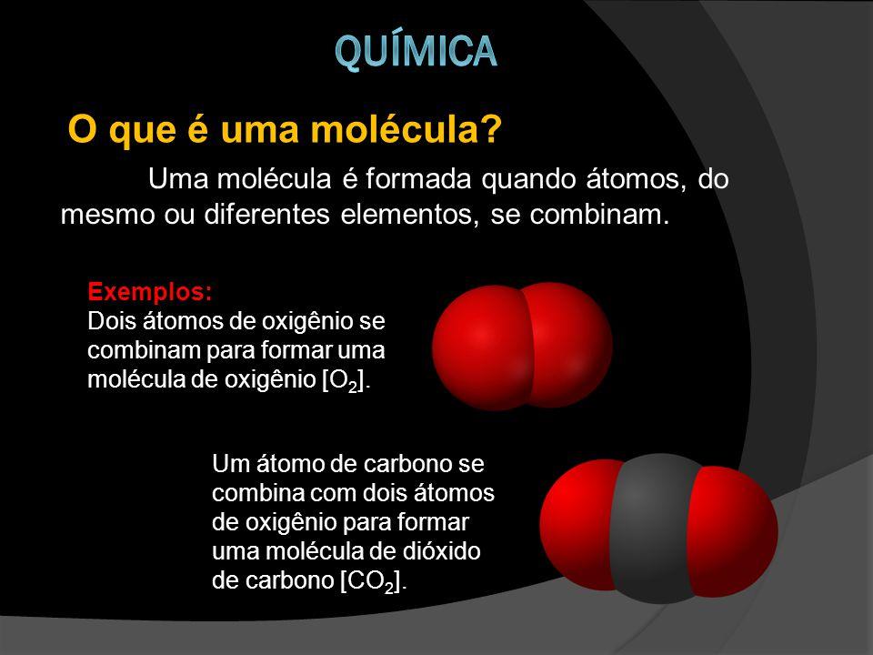 Uma molécula é formada quando átomos, do mesmo ou diferentes elementos, se combinam.