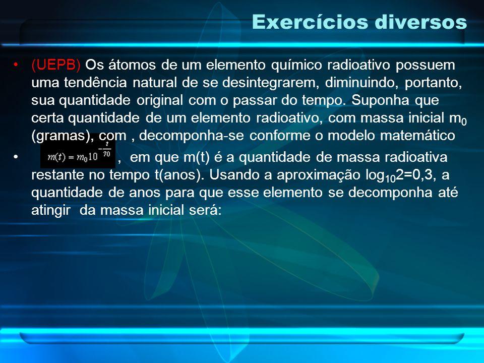 Exercícios diversos (Unicamp) O decaimento radioativo do estrôncio 90 é descrito pela função, onde t é um instante de tempo, medido em anos, b é uma c