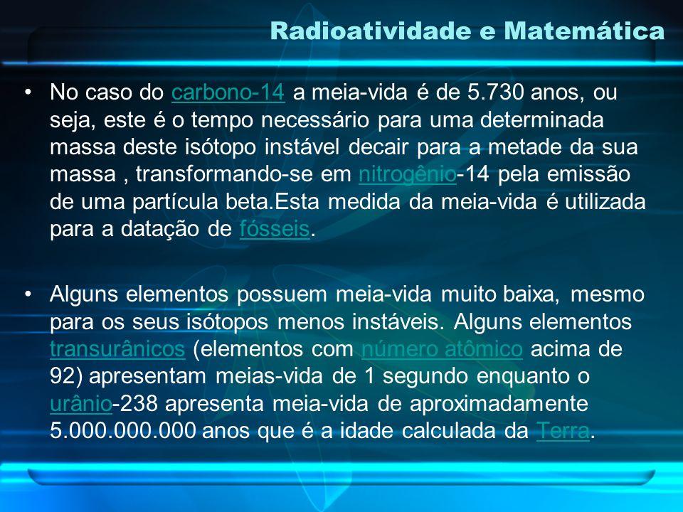 Nos processos radioativos meia-vida ou período de semidesintegração de um radioisótopo é o tempo necessário para desintegrar a metade da massa deste i