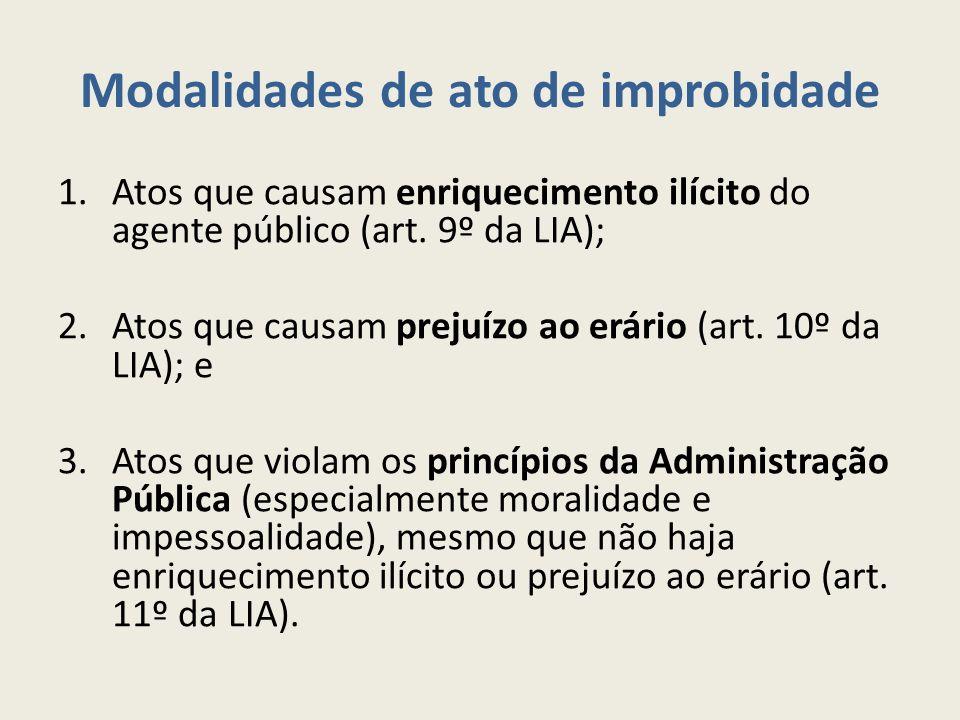 Modalidades de ato de improbidade 1.Atos que causam enriquecimento ilícito do agente público (art.