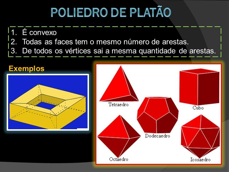1.É convexo 2.Todas as faces tem o mesmo número de arestas. 3.De todos os vértices sai a mesma quantidade de arestas. Exemplos