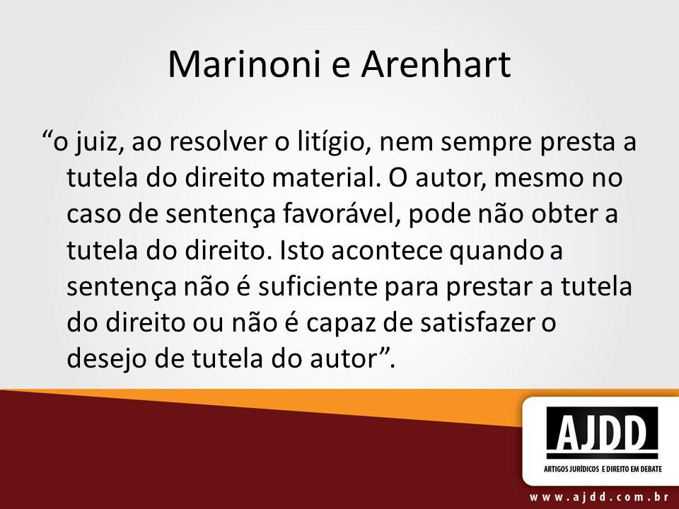 """Marinoni e Arenhart """"o juiz, ao resolver o litígio, nem sempre presta a tutela do direito material. O autor, mesmo no caso de sentença favorável, pode"""