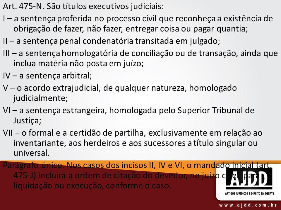 Art. 475-N. São títulos executivos judiciais: I – a sentença proferida no processo civil que reconheça a existência de obrigação de fazer, não fazer,