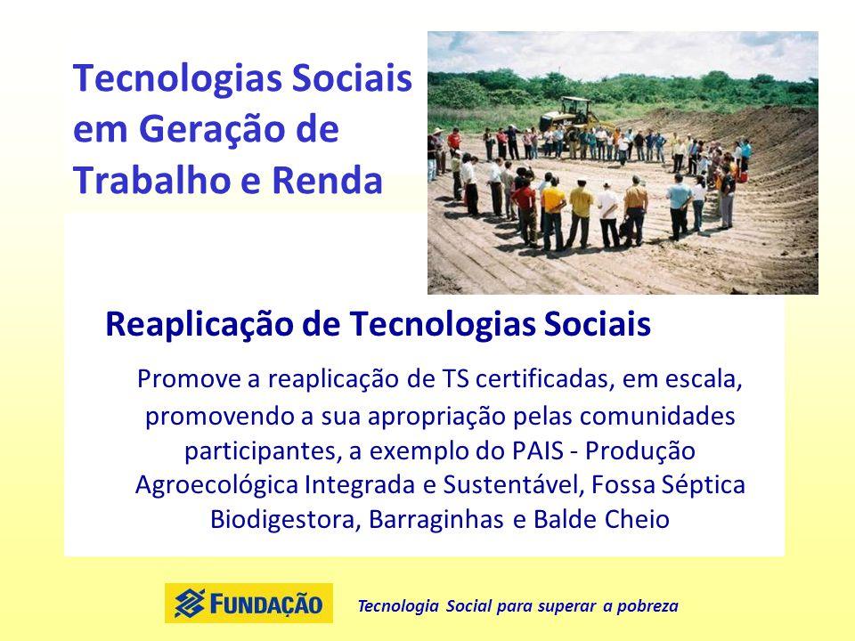 Tecnologia Social para superar a pobreza Tecnologias Sociais em Geração de Trabalho e Renda Reaplicação de Tecnologias Sociais Promove a reaplicação d