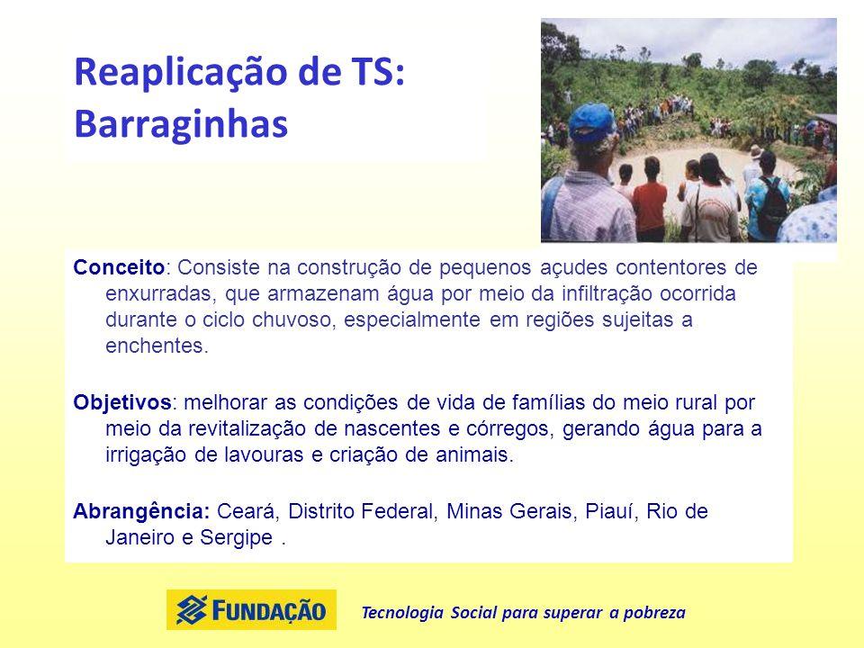 Tecnologia Social para superar a pobreza Reaplicação de TS: Barraginhas Conceito: Consiste na construção de pequenos açudes contentores de enxurradas,