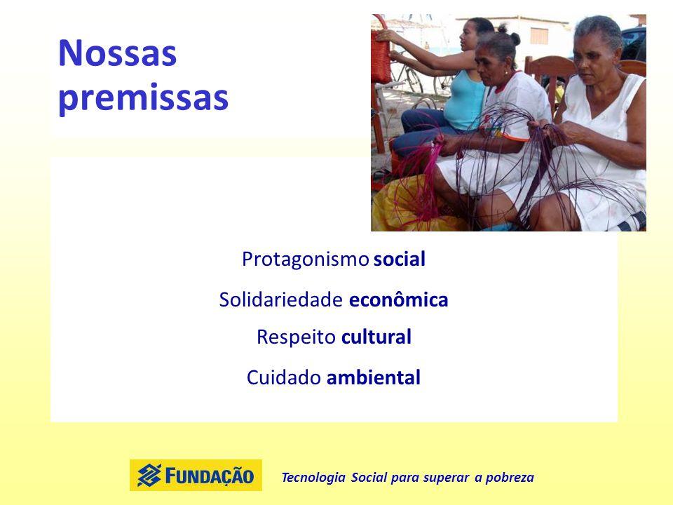Tecnologia Social para superar a pobreza Nossas premissas Protagonismo social Solidariedade econômica Respeito cultural Cuidado ambiental