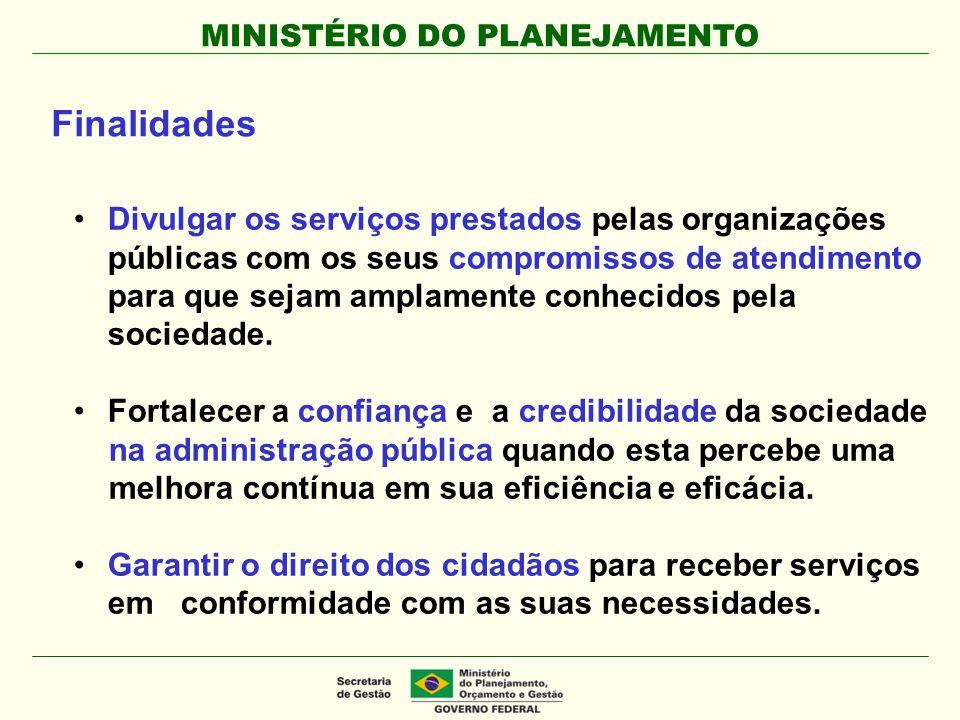MINISTÉRIO DO PLANEJAMENTO Divulgar os serviços prestados pelas organizações públicas com os seus compromissos de atendimento para que sejam amplament
