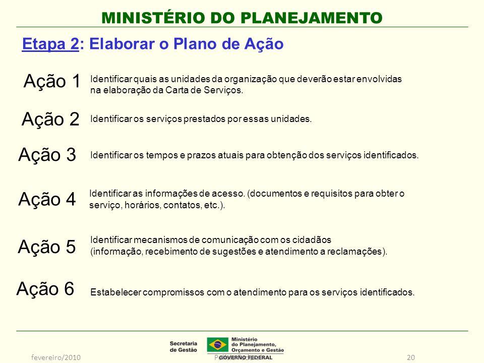 MINISTÉRIO DO PLANEJAMENTO fevereiro/2010Polícia Federal20 Identificar quais as unidades da organização que deverão estar envolvidas na elaboração da