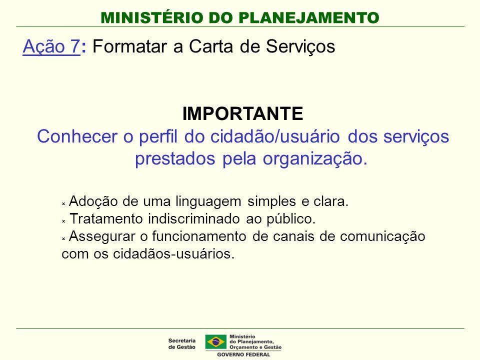 MINISTÉRIO DO PLANEJAMENTO Ação 7: Formatar a Carta de Serviços IMPORTANTE Conhecer o perfil do cidadão/usuário dos serviços prestados pela organizaçã