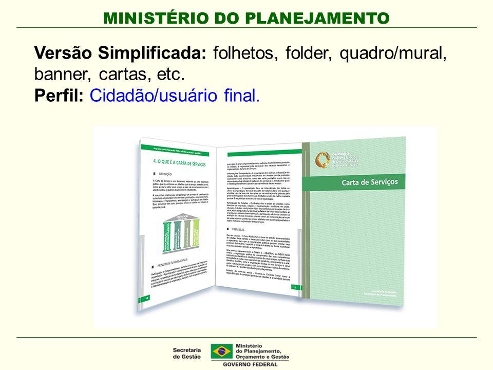 MINISTÉRIO DO PLANEJAMENTO Versão Simplificada: folhetos, folder, quadro/mural, banner, cartas, etc. Perfil: Cidadão/usuário final.