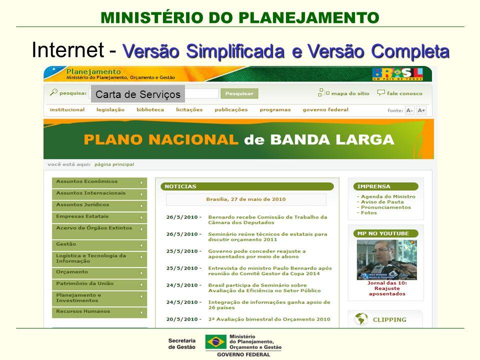 MINISTÉRIO DO PLANEJAMENTO Internet - Versão Simplificada e Versão Completa Carta de Serviços