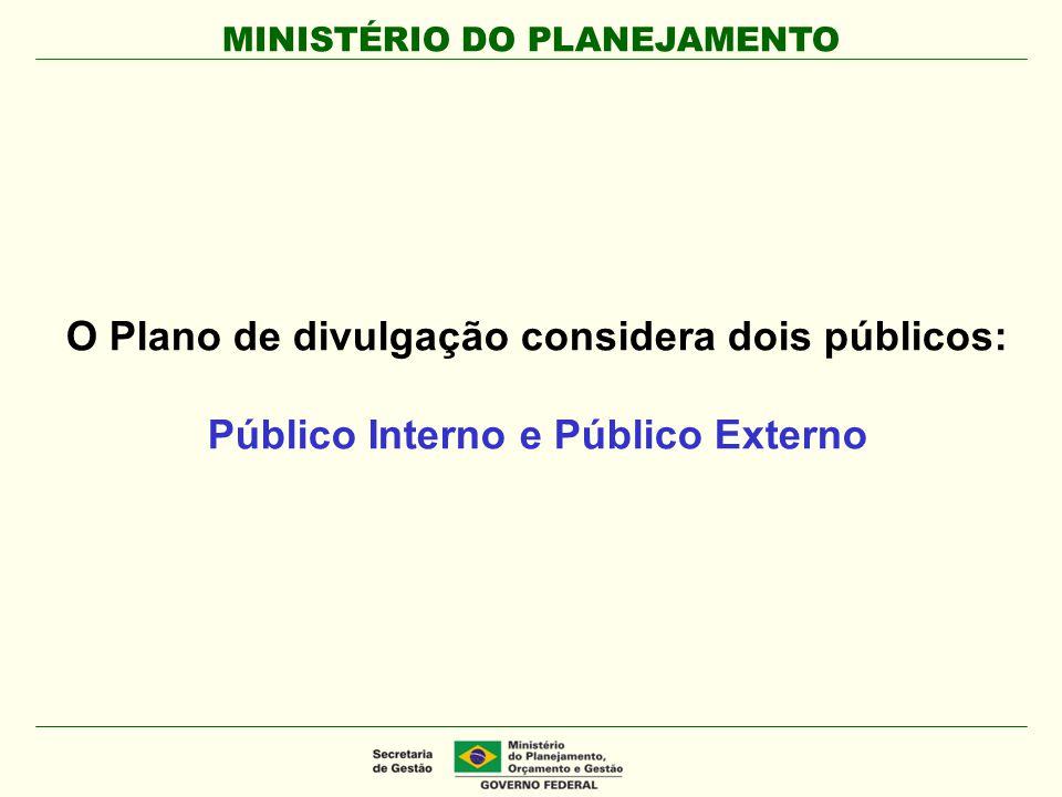 MINISTÉRIO DO PLANEJAMENTO O Plano de divulgação considera dois públicos: Público Interno e Público Externo