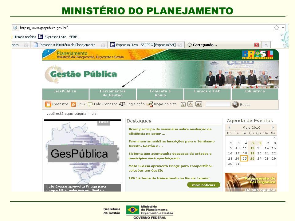 MINISTÉRIO DO PLANEJAMENTO GesPública