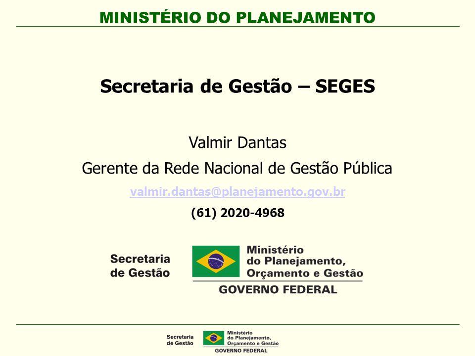 MINISTÉRIO DO PLANEJAMENTO Secretaria de Gestão – SEGES Valmir Dantas Gerente da Rede Nacional de Gestão Pública valmir.dantas@planejamento.gov.br (61
