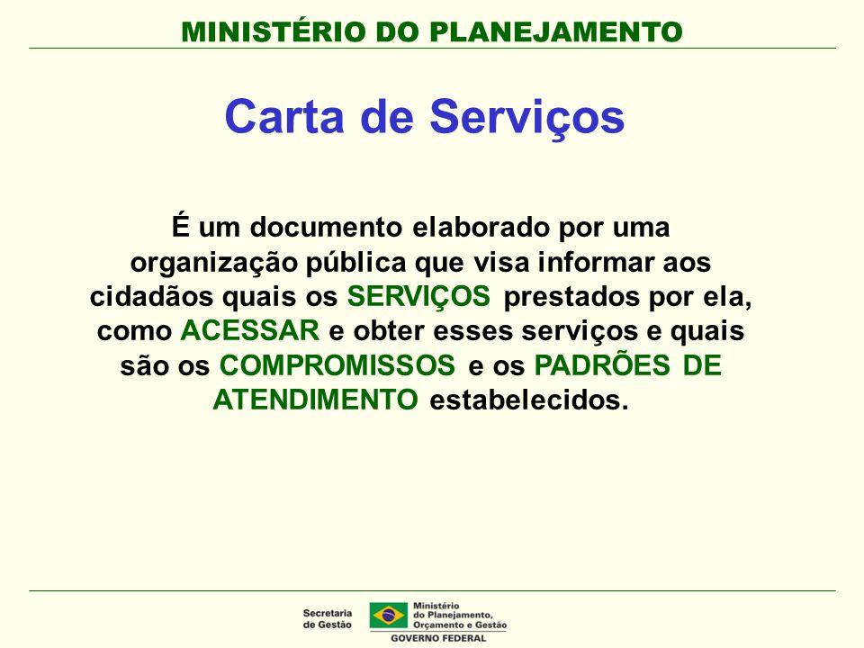 MINISTÉRIO DO PLANEJAMENTO É um documento elaborado por uma organização pública que visa informar aos cidadãos quais os SERVIÇOS prestados por ela, co
