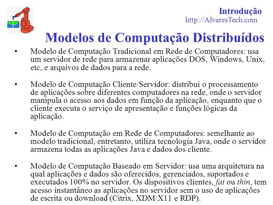 Introdução http://AlvaresTech.com Modelos de Computação Distribuídos Modelo de Computação Tradicional em Rede de Computadores: usa um servidor de rede para armazenar aplicações DOS, Windows, Unix, etc, e arquivos de dados para a rede.