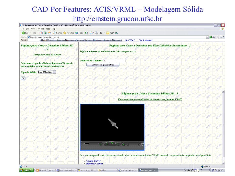 CAD Por Features: ACIS/VRML – Modelagem Sólida http://einstein.grucon.ufsc.br