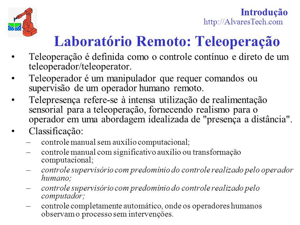 Introdução http://AlvaresTech.com Laboratório Remoto: Teleoperação Teleoperação é definida como o controle contínuo e direto de um teleoperador/teleop