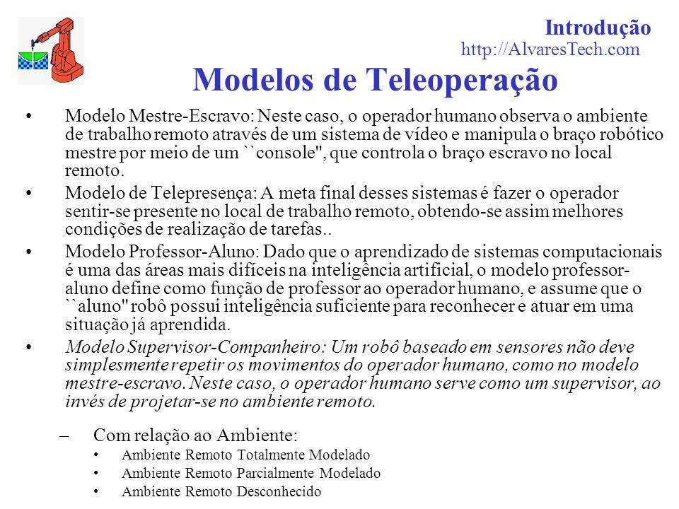 Introdução http://AlvaresTech.com Modelos de Teleoperação Modelo Mestre-Escravo: Neste caso, o operador humano observa o ambiente de trabalho remoto a