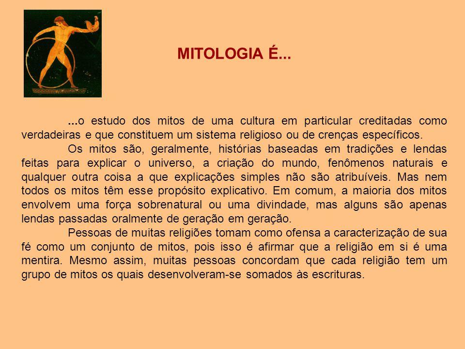 MITOLOGIA É......o estudo dos mitos de uma cultura em particular creditadas como verdadeiras e que constituem um sistema religioso ou de crenças espec