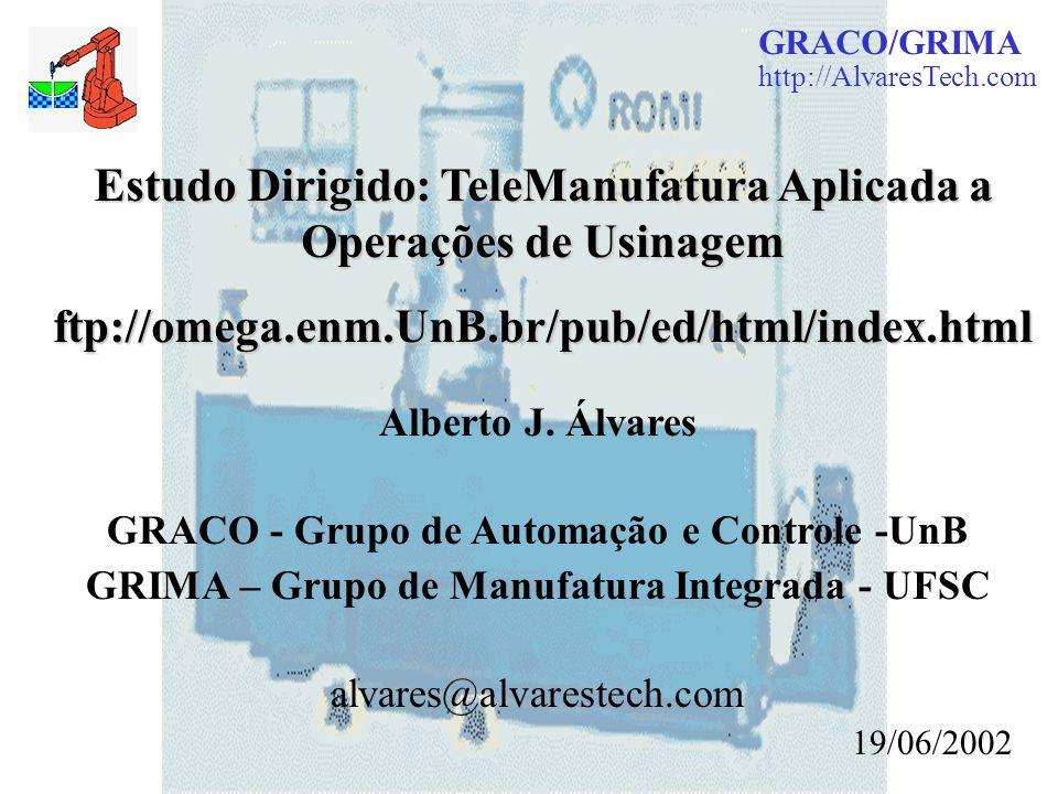 GRACO/GRIMA http://AlvaresTech.com Estudo Dirigido: TeleManufatura Aplicada a Operações de Usinagem ftp://omega.enm.UnB.br/pub/ed/html/index.html Albe