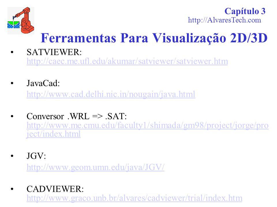 Capítulo 3 http://AlvaresTech.com Ferramentas Para Visualização 2D/3D SATVIEWER: http://caec.me.ufl.edu/akumar/satviewer/satviewer.htm http://caec.me.