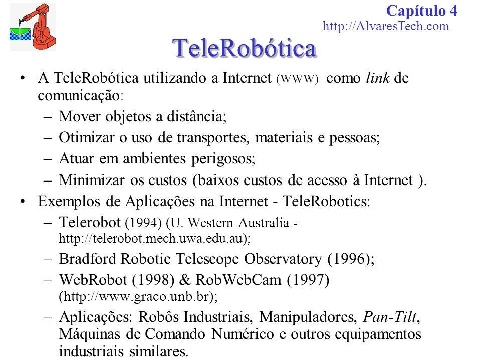 TeleRobóticaTeleRobótica A TeleRobótica utilizando a Internet (WWW) como link de comunicação: –Mover objetos a distância; –Otimizar o uso de transport