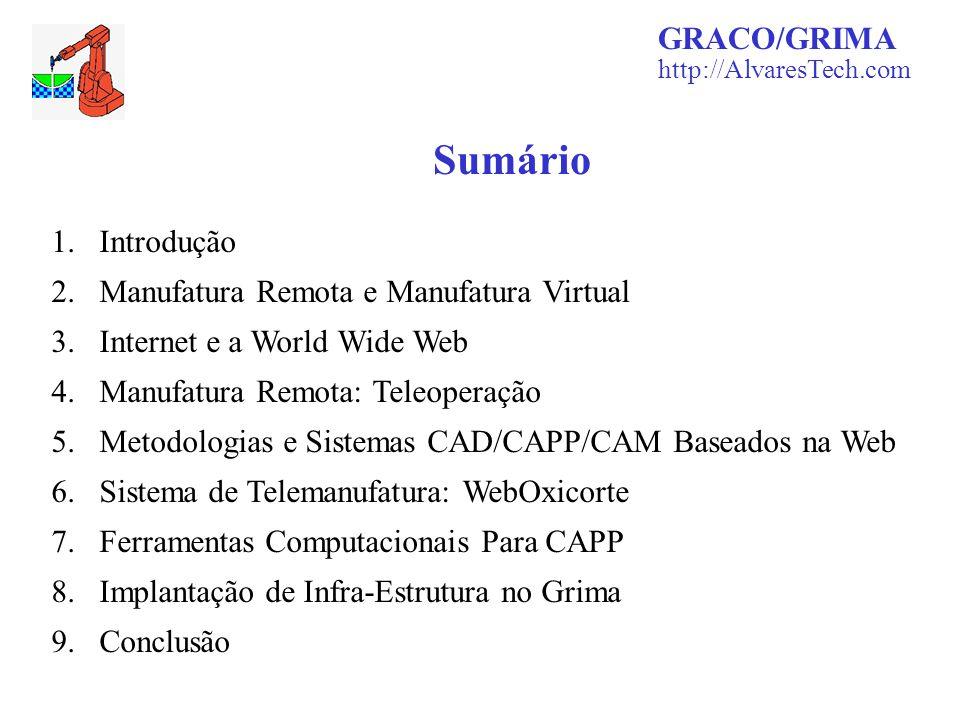 1.Introdução 2.Manufatura Remota e Manufatura Virtual 3.Internet e a World Wide Web 4.Manufatura Remota: Teleoperação 5.Metodologias e Sistemas CAD/CA