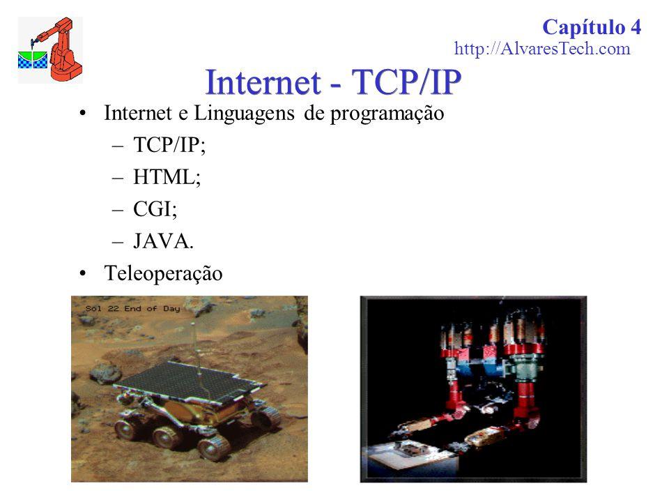 Internet - TCP/IP Internet e Linguagens de programação –TCP/IP; –HTML; –CGI; –JAVA. Teleoperação Capítulo 4 http://AlvaresTech.com