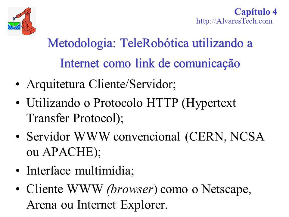 Metodologia: TeleRobótica utilizando a Internet como link de comunicação Arquitetura Cliente/Servidor; Utilizando o Protocolo HTTP (Hypertext Transfer