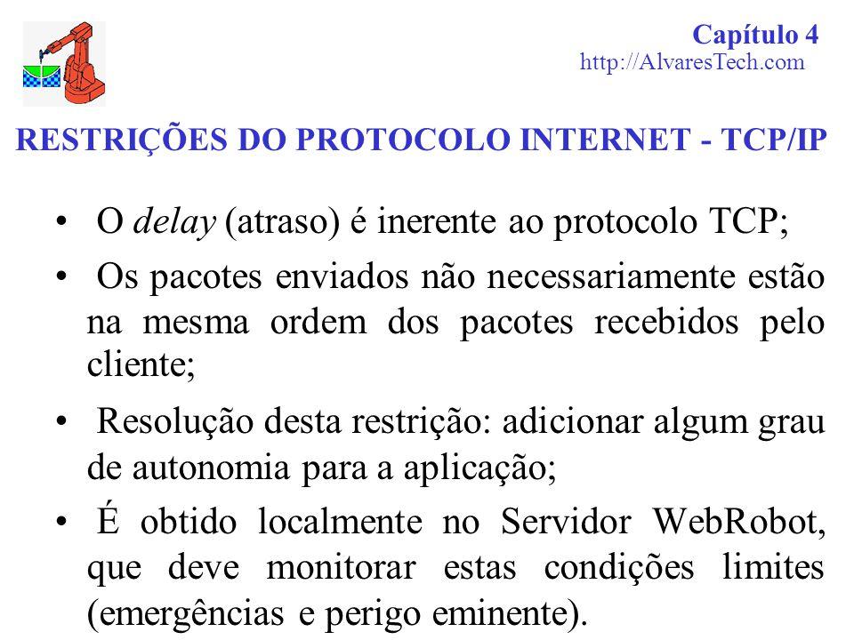 RESTRIÇÕES DO PROTOCOLO INTERNET - TCP/IP O delay (atraso) é inerente ao protocolo TCP; Os pacotes enviados não necessariamente estão na mesma ordem d