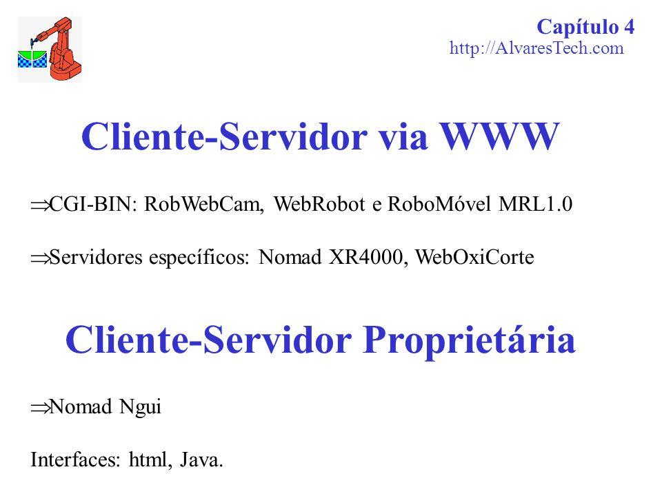 Cliente-Servidor via WWW  CGI-BIN: RobWebCam, WebRobot e RoboMóvel MRL1.0  Servidores específicos: Nomad XR4000, WebOxiCorte Cliente-Servidor Propri