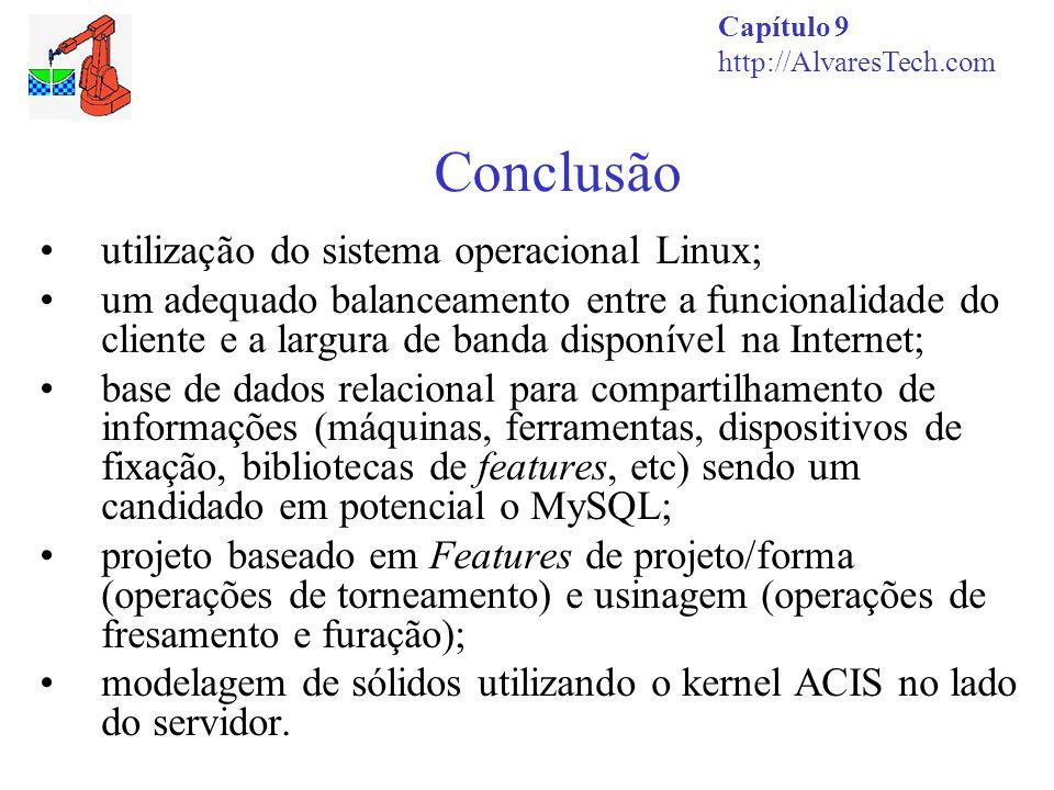 Conclusão Capítulo 9 http://AlvaresTech.com utilização do sistema operacional Linux; um adequado balanceamento entre a funcionalidade do cliente e a l