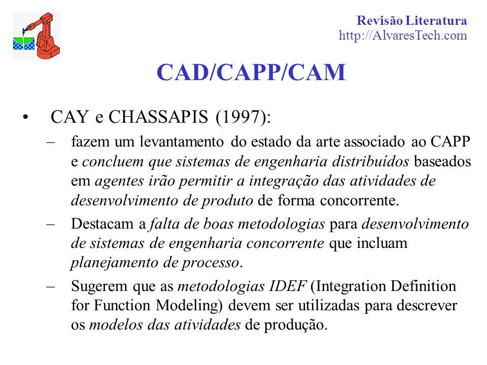 Revisão Literatura http://AlvaresTech.com CAD/CAPP/CAM CAY e CHASSAPIS (1997): –fazem um levantamento do estado da arte associado ao CAPP e concluem que sistemas de engenharia distribuídos baseados em agentes irão permitir a integração das atividades de desenvolvimento de produto de forma concorrente.