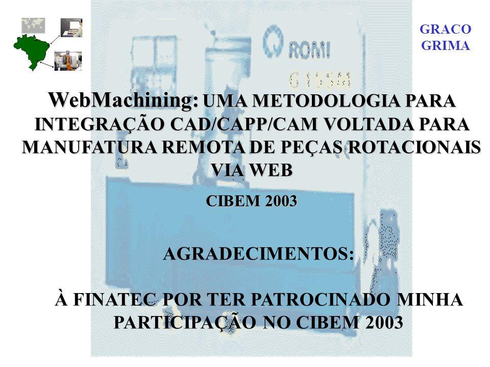 WebMachining: UMA METODOLOGIA PARA INTEGRAÇÃO CAD/CAPP/CAM VOLTADA PARA MANUFATURA REMOTA DE PEÇAS ROTACIONAIS VIA WEB CIBEM 2003 AGRADECIMENTOS: À FINATEC POR TER PATROCINADO MINHA PARTICIPAÇÃO NO CIBEM 2003 GRACO GRIMA