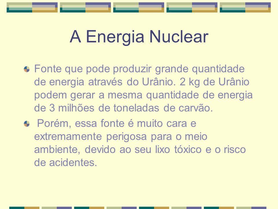A Energia Nuclear Fonte que pode produzir grande quantidade de energia através do Urânio. 2 kg de Urânio podem gerar a mesma quantidade de energia de