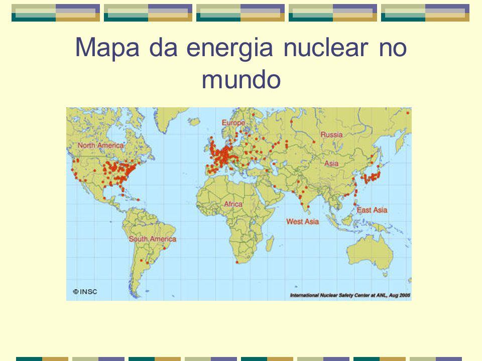 Mapa da energia nuclear no mundo