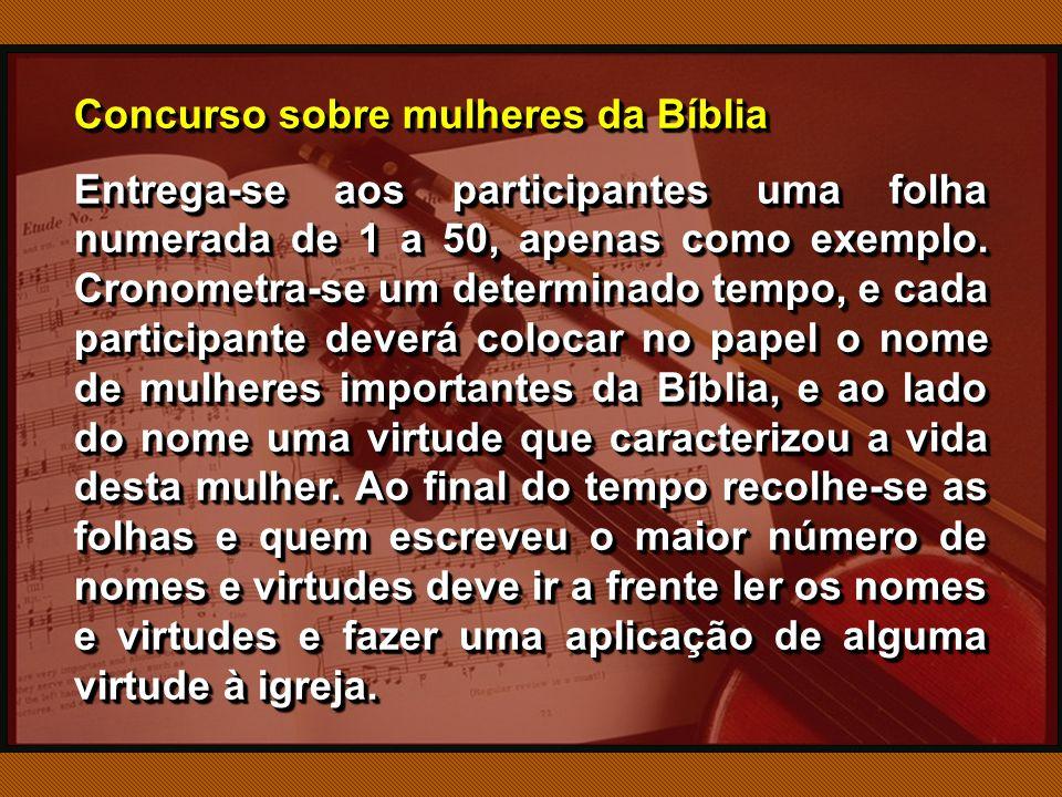 Concurso sobre mulheres da Bíblia Entrega-se aos participantes uma folha numerada de 1 a 50, apenas como exemplo.