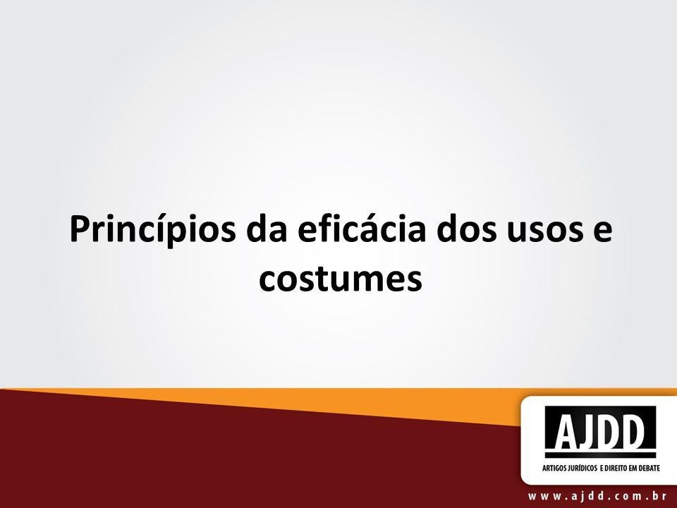 Princípios da eficácia dos usos e costumes