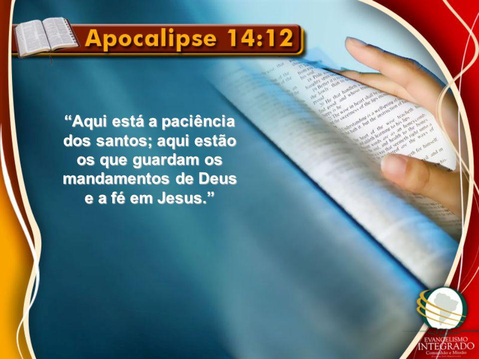 """""""Aqui está a paciência dos santos; aqui estão os que guardam os mandamentos de Deus e a fé em Jesus."""""""