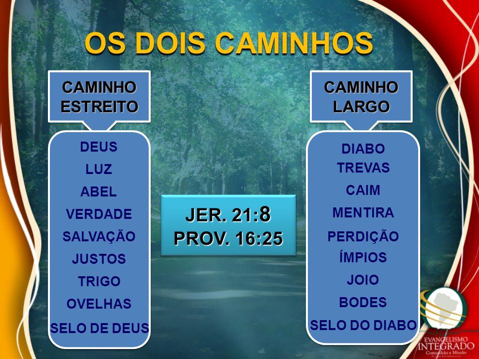 OS DOIS CAMINHOS CAMINHO ESTREITO JER. 21: 8 PROV. 16:25 JER. 21: 8 PROV. 16:25 DEUS LUZ VERDADE SALVAÇÃO JUSTOS TRIGO OVELHAS ABEL DIABO TREVAS CAIM