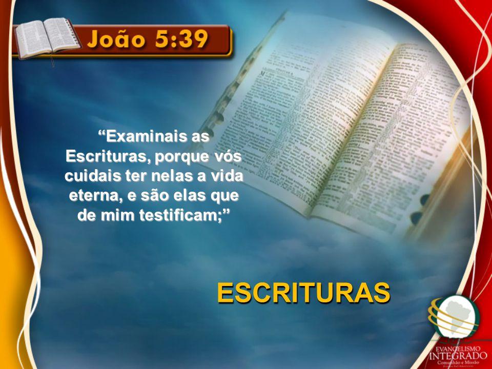 """""""Examinais as Escrituras, porque vós cuidais ter nelas a vida eterna, e são elas que de mim testificam;"""" ESCRITURAS"""