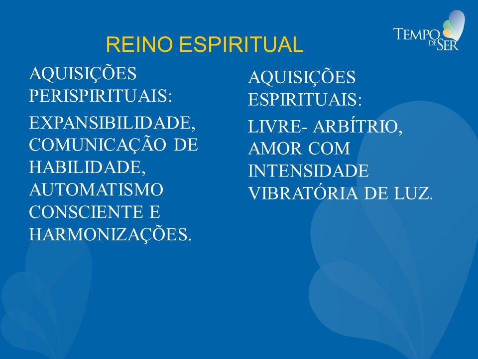 REINO ESPIRITUAL AQUISIÇÕES PERISPIRITUAIS: EXPANSIBILIDADE, COMUNICAÇÃO DE HABILIDADE, AUTOMATISMO CONSCIENTE E HARMONIZAÇÕES.