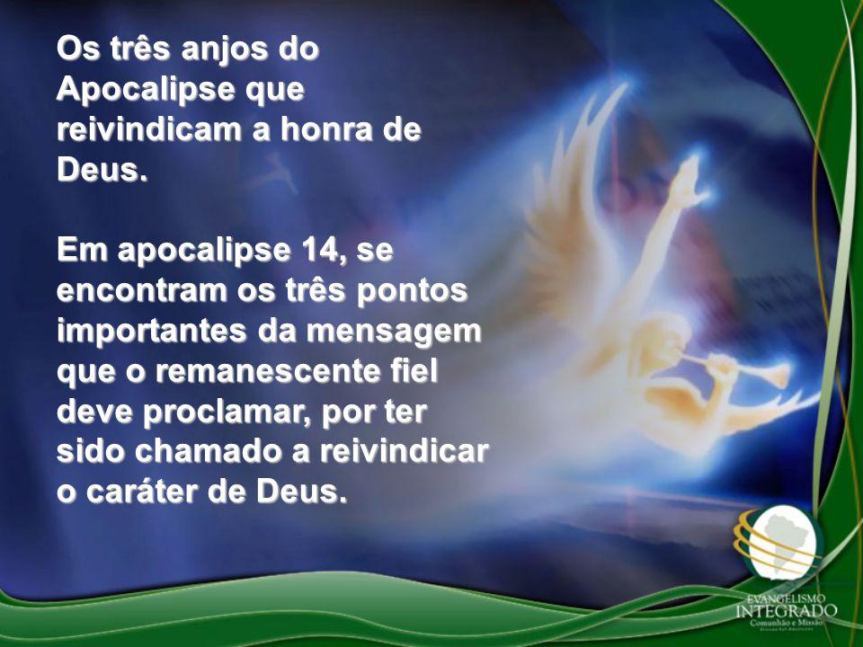 Os três anjos do Apocalipse que reivindicam a honra de Deus. Em apocalipse 14, se encontram os três pontos importantes da mensagem que o remanescente