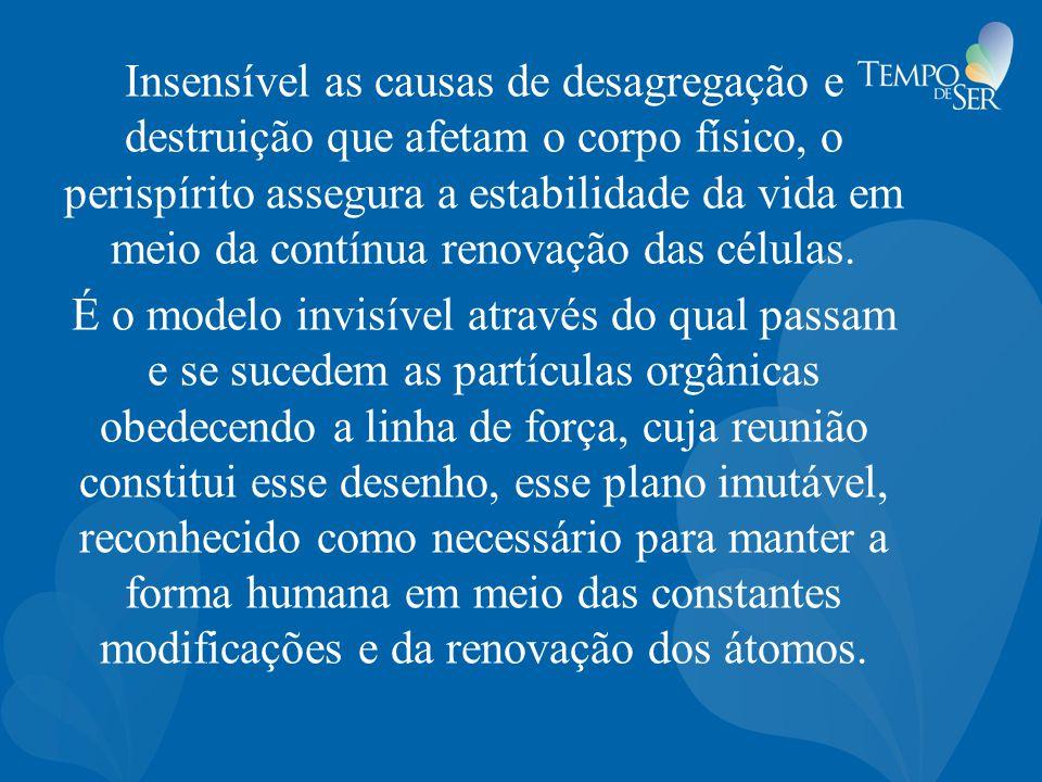 Insensível as causas de desagregação e destruição que afetam o corpo físico, o perispírito assegura a estabilidade da vida em meio da contínua renovaç