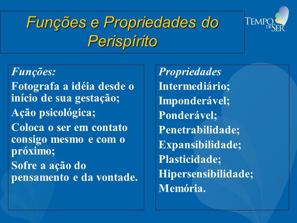 Funções e Propriedades do Perispírito Propriedades Intermediário; Imponderável; Ponderável; Penetrabilidade; Expansibilidade; Plasticidade; Hipersensi