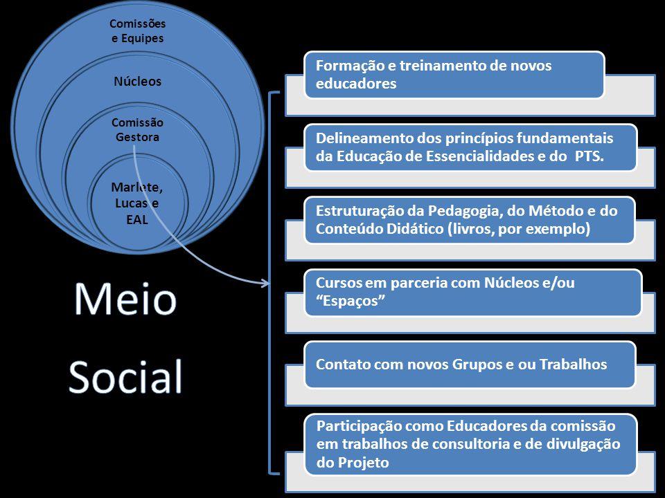 Formação e treinamento de novos educadores Delineamento dos princípios fundamentais da Educação de Essencialidades e do PTS.