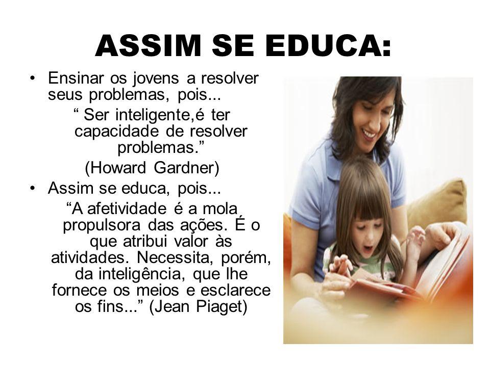 """ASSIM SE EDUCA: Ensinar os jovens a resolver seus problemas, pois... """" Ser inteligente,é ter capacidade de resolver problemas."""" (Howard Gardner) Assim"""
